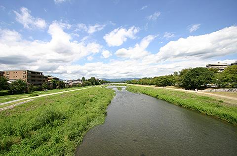 View of Kamogawa River near Marutamachi Station, Kyoto Jingu